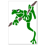 frog on brache 9x13,5cm machine embroidery pattern