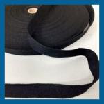 Keperband polyester zwart 25mm rol 100m