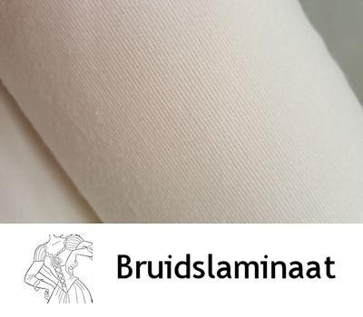 Eénzijdig geruwde viscose bruidslaminaat offwhite fin3 1R 98 cm breed