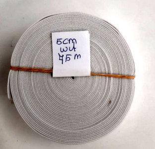 Elastiek 5cm breed wit reststukje 7,5m