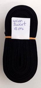 Elastiek 4cm breed zwart reststukje 5m