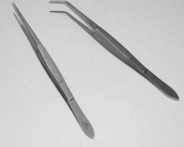 Pincet recht en gebogen van RVS