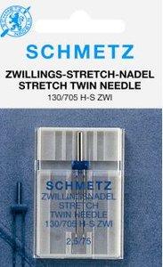 Stretch tweelingnaald van Schmetz voor zomen in rekbare stoffen